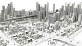 Fototapety 市街地の鳥瞰図の線画