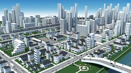 市街地の鳥瞰図の3D-CG