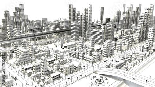 市街地の鳥瞰図の線画