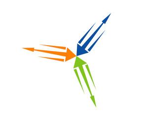 3 way arrow
