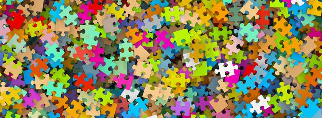 Puzzle, Puzzleteile, Panorama, durcheinander, Jigsaw, bunt, 3D