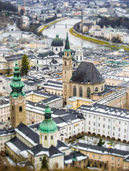 Beautiful aerial shot on tilt shift lens of Salzburg, Austria
