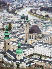 Aerial view on ancient city of Salzburg, Austria