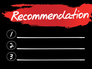 Recommendation Blank List, vector concept