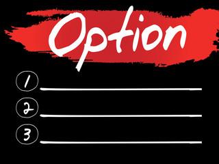 Option Blank List, vector concept background
