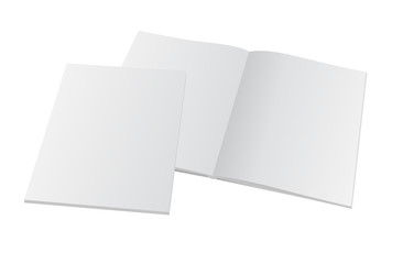 blank opened magazine with cover