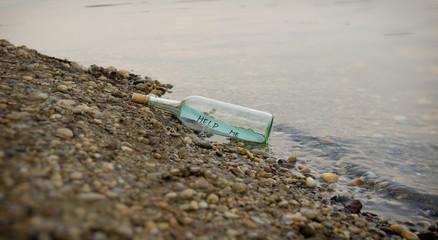 Help Me Message in Glass Bottle