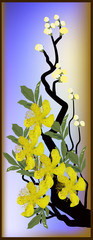 tree branch and yellow blossom illustration