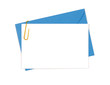 Blank message or invitation card with blue envelope