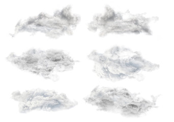 set of six grey isolated clouds