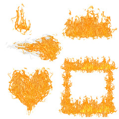 set of orange fire elements collection on white