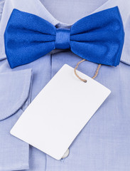 bow tie and shirt with an empty label on