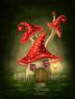 Leinwanddruck Bild - Fantasy mushroom house