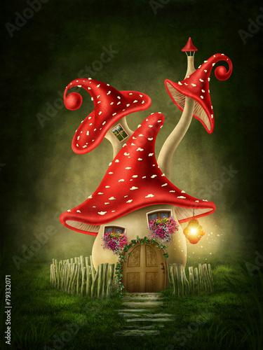 Leinwanddruck Bild Fantasy mushroom house