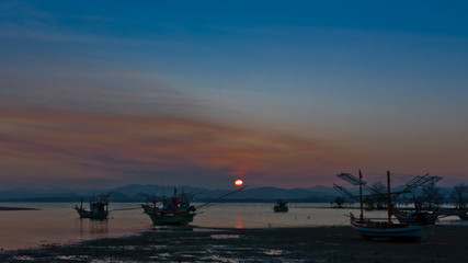 Sunset at beach in Thailand Asia