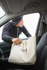 Thief breaking into car and stealing hand bag