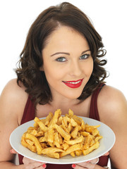 Young Woman Eating a Large Plate of Fried Chips