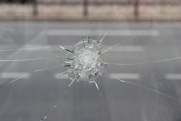 Crack in glass.