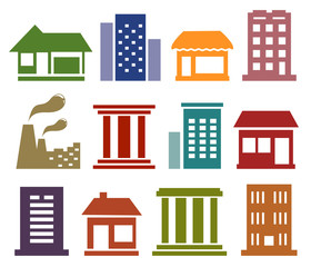 colorful icons with urban architecture