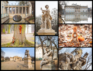 Collage of Royal Baths Park in Warsaw, Poland