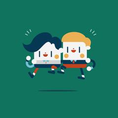 Character illustration design. Businessmen concept work together