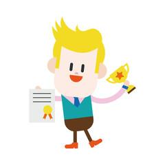Character illustration design. Businessman winner cartoon,eps