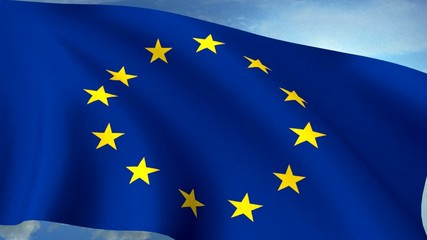 Euro Europe Flag Closeup Waving Against Blue Sky Seamless Loop C