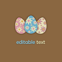 Easter Card with editable text (icon symbol design)