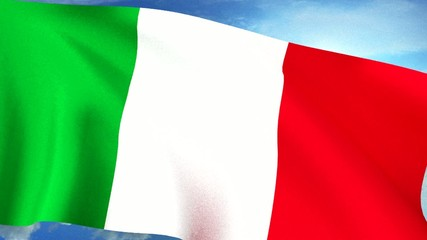 Italian Flag Closeup Waving Against Blue Sky Seamless Loop CG