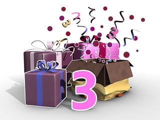 Cadeaus in roze kleuren voor de derde