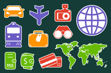 set colorful icons for travel industry