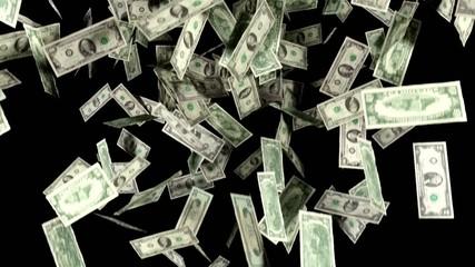 Money Falling In Slow Motion Dollars Financial Win US Currency T