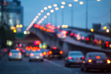 City traffic night blurred