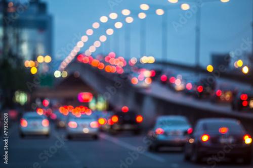 Plakat City traffic night blurred