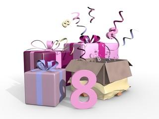 Roze cadeaus voor de achtste