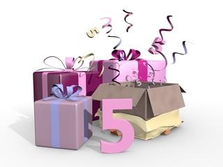 Roze cadeaus voor de vijfde