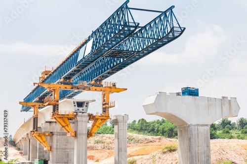 Construction of a mass rail transit line in progress - 79337439