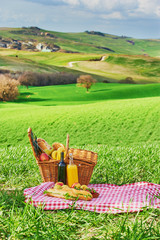 Tuscan picnic on the green spring grass with landscape in the ba
