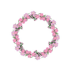 Wreath of forget-me-not. Vector template frame