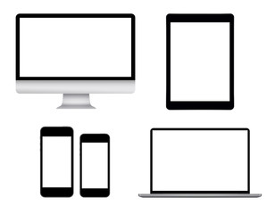 Monitor, tablet, laptop and two smart phones