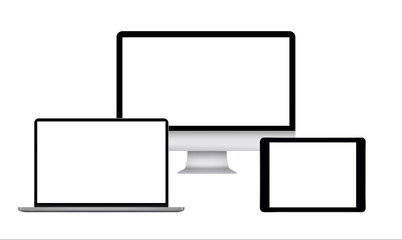 Computer monitor with tablet and laptop