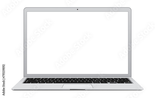 Vector illustration of thin Laptop with blank screen. - 79339892