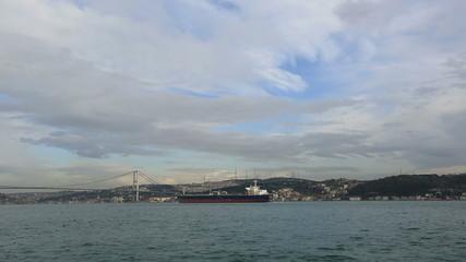 large container ship passing Bosphorus Istanbul Turkey