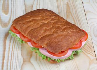 Ciabatta bread sandwiches with sausage