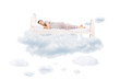 Young man sleeping on a comfortable bed in clouds - 79340862