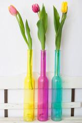 Drei Tulpen in farbigen Glasvasen auf Regal