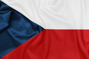 Czech Republic - Waving national flag on silk texture