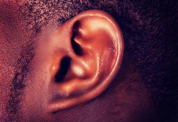 African man's ear.