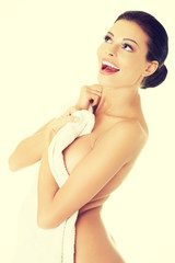 Adorable woman with a towel.