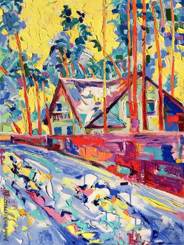 Obraz original oil painting on canvas of winter village landscape